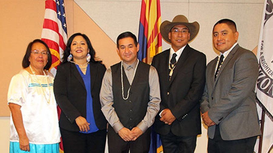 2017-2018 Ak-Chin Community Council members left to right, Delia M. Carlyle, Ann Marie Antone, Chairman Robert Miguel, Vice Chairman Gabriel Lopez, and Alvin Antone.