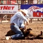 Calf roping at the PRCA Payson Spring Rodeo in Arizona