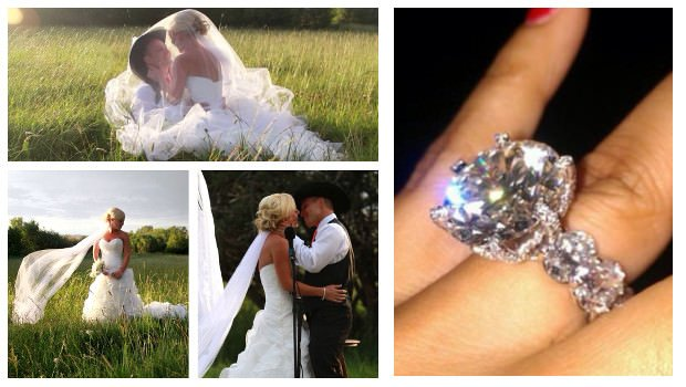 Cowboy and Cowgirl Wedding with Big Diamond Rings