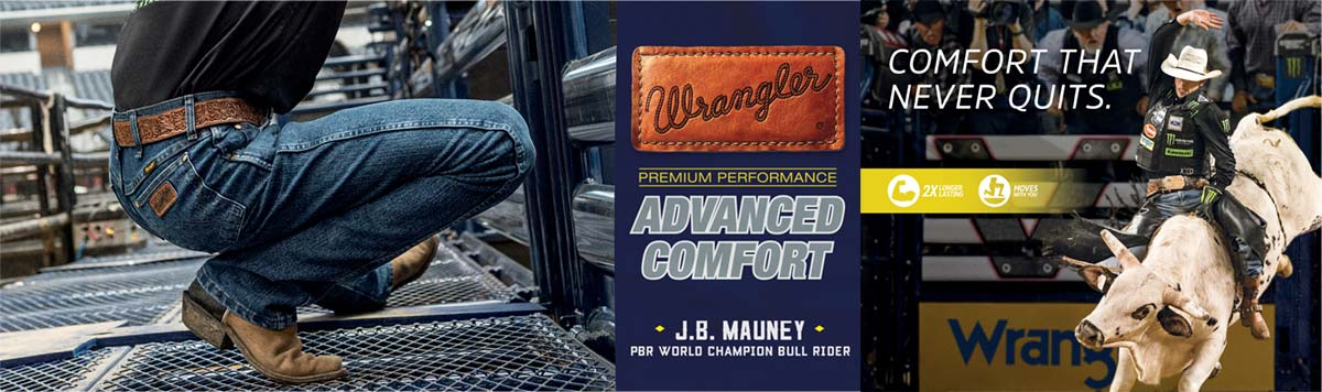 Boot Barn Wrangler Jeans Buy 2, Get one FREE offer in Las Vegas during the PBR BFTS World Finals 2017