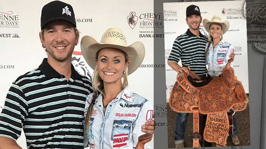 Stevi Hillman, with her husband, coach, driver, and best friend -Ty; after her big win at the Cheyenne Frontier Days Rodeo.