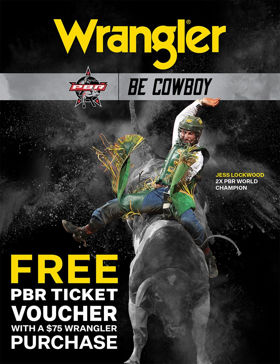 **Offer valid on all men's, women's, or youth Wrangler products. Free Rodeo Ticket voucher with $75.00 purchase of Wrangler Jeans and Shirts.